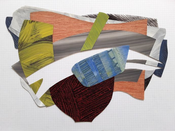 "Nanette Carter  ""Cantilevered"" & more, 2013 - 2018  oils on Mylar"