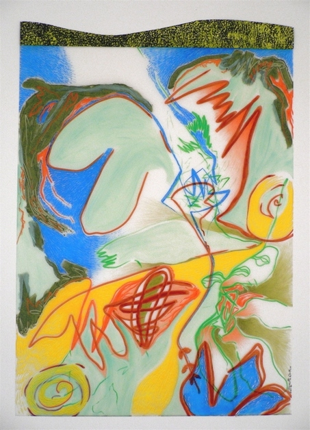 "Nanette Carter  ""In the Garden: The Animist"" and ""Bouquet for Loving"" 2009-2012    oils, color pencil, magic marker, Mylar"