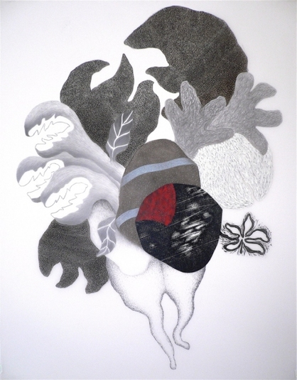 "Nanette Carter  ""In the Garden: The Animist"" and ""Bouquet for Loving"" 2009-2012    pencil, oils oil stick"