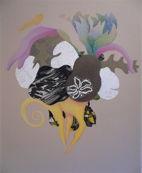 "Nanette Carter  ""In the Garden: The Animist"" and ""Bouquet for Loving"" 2009-2012    oils, oil stick, color pencil, pencil"