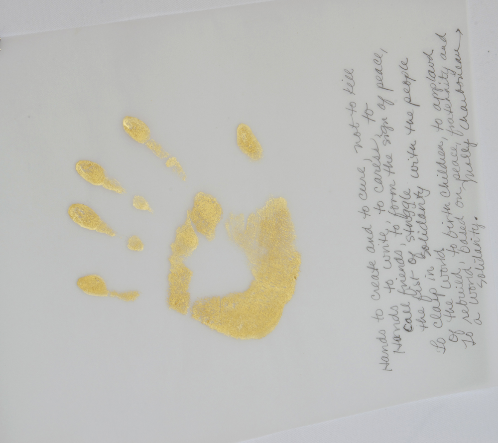 "Gold Handprint Project ""hands to create and to cure..."""