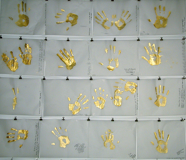 Gold Handprint Project Selection from over 700+ Handprints gathered over six weeks (mid Feb 03 - April 03) in NYC