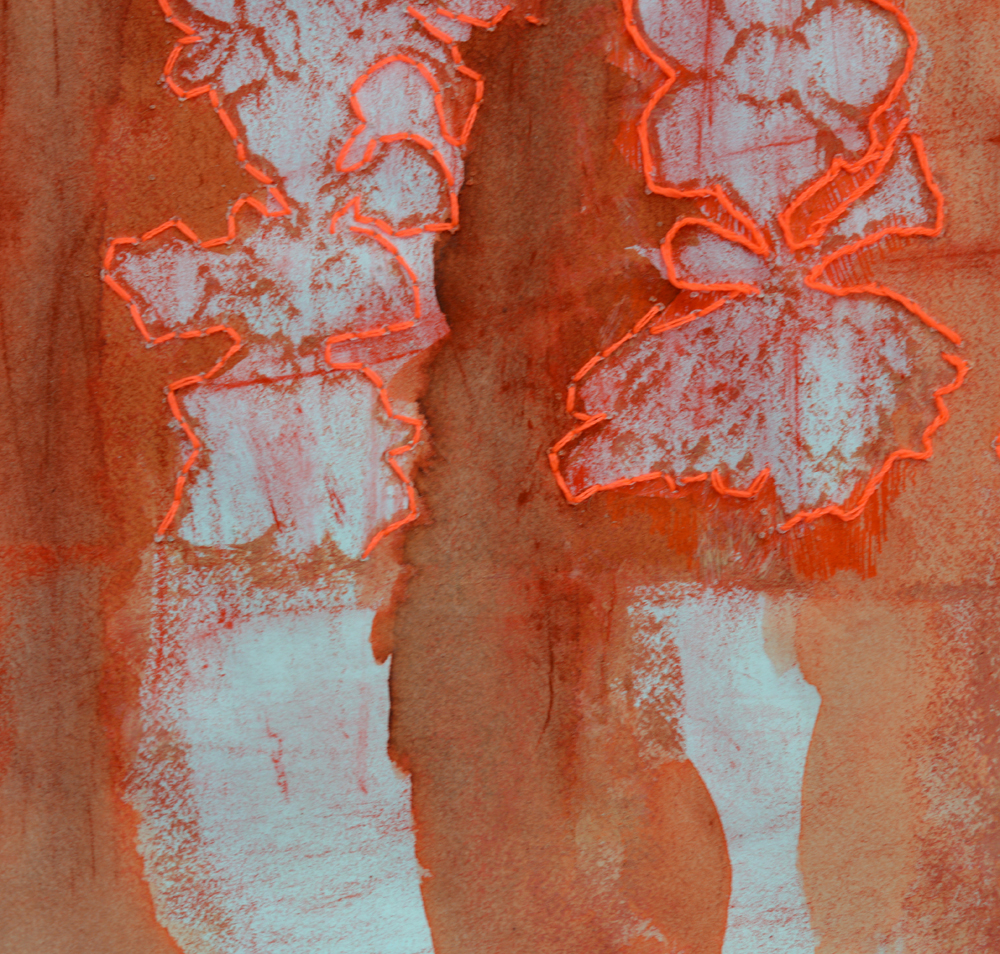 Rearranging the Bones, Rearranging the Flesh DETAIL  Six Vertebras Frottage Inkwash and Thread
