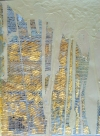 THREAD  Gold Fragments  latex paint and lable, 23k gold leaf, thread
