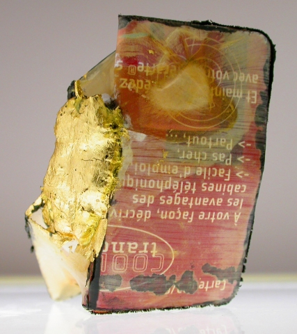 Nicola Ginzel  ELEMENTS- transformed objects phone card, entrails, silk, oil paint, gold leaf