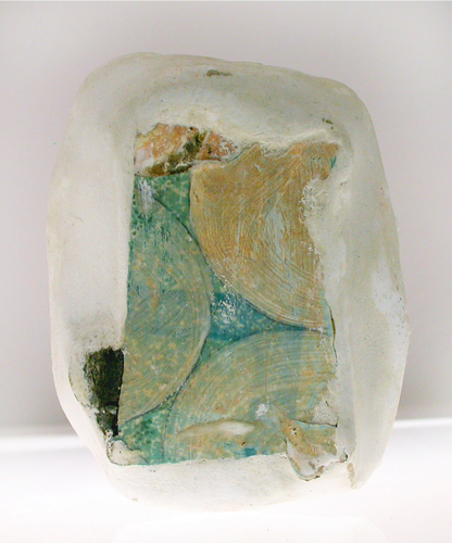 Nicola Ginzel  ELEMENTS- transformed objects linoleum floor tile, plaster, acrylic, graphite