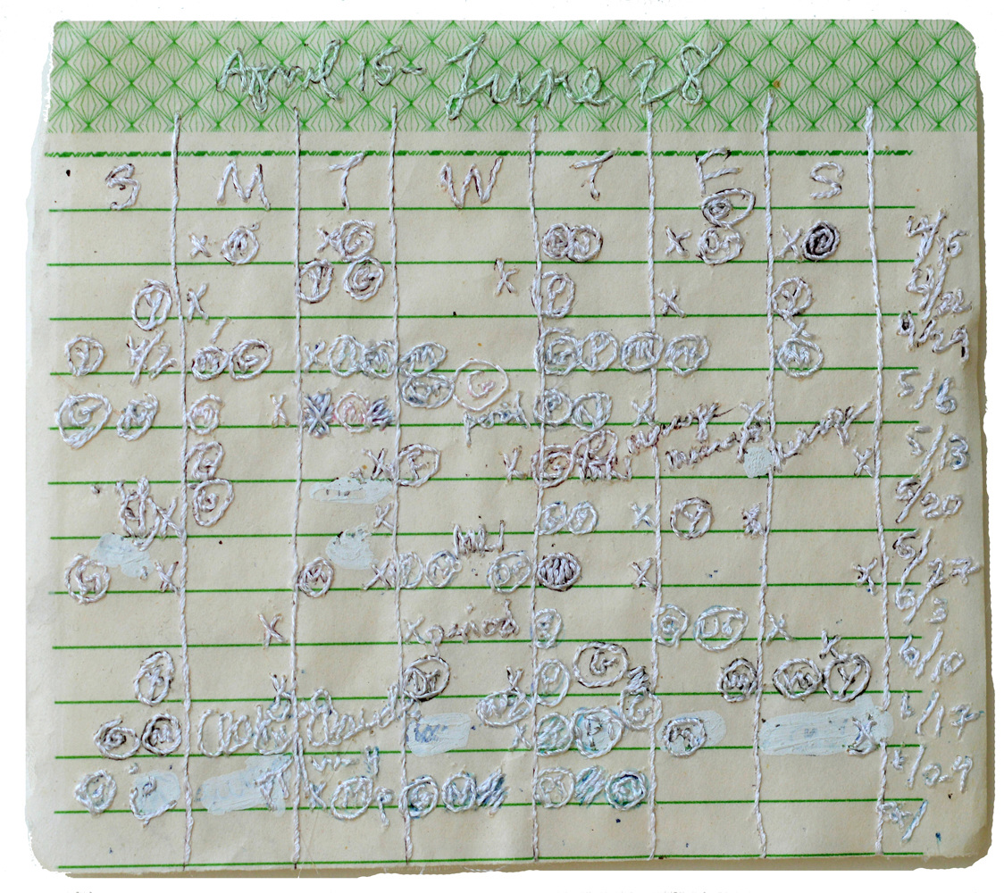 Nicola Ginzel  ARTWORK hand written schedule, embroidered with thread by hand