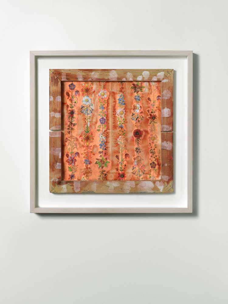 Nicola Ginzel  ARTWORK paper napkin with commercially printed flowers, embroidered by hand, ink, backed with BEVA archival adhesive, used wooden stretcher frame