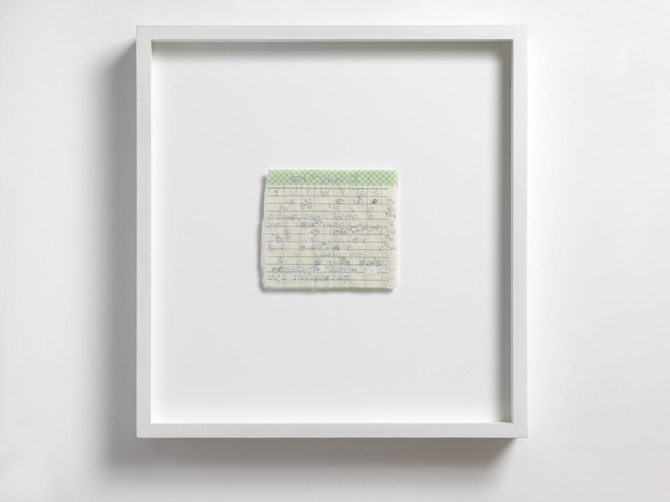 Nicola Ginzel  ARTWORK  overview hand written schedule, embroidered with thread by hand