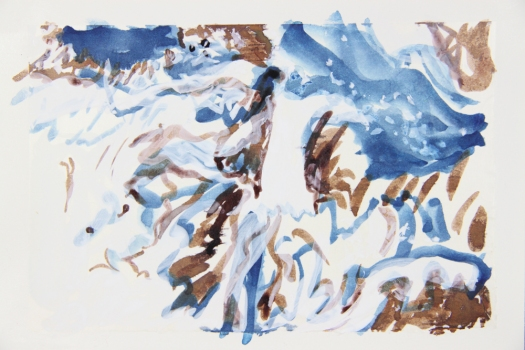 Nicole Ouellette Moving at a Glacial Pace Ink and watercolor on gampi mounted on paper
