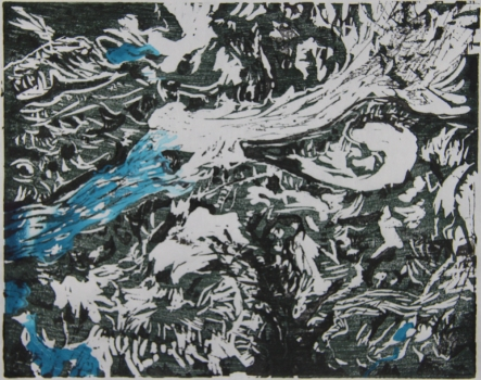 Nicole Ouellette Moving at a Glacial Pace Woodcut