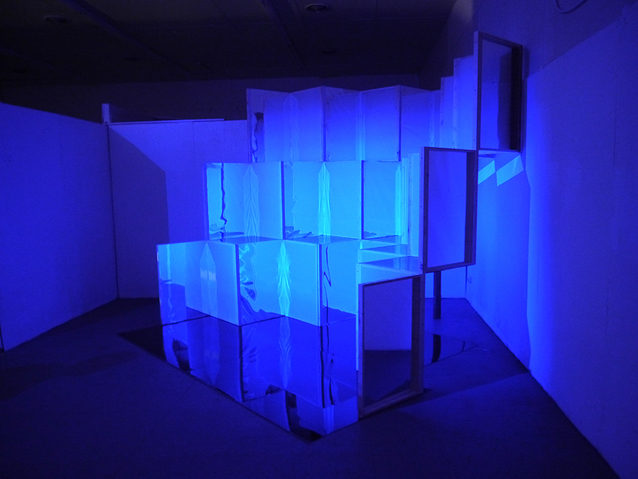 NOAH BREUER Expanded Screen  Wood, Mylar, Plexiglass, Video Projection