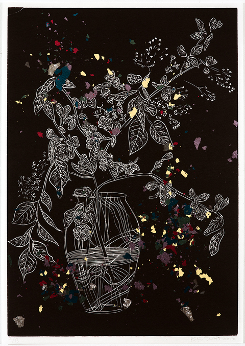 NOAH BREUER Kiki Smith Linoleum Cut and Metal Leaf