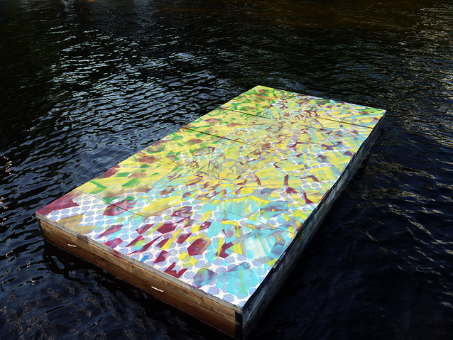 NOAH BREUER Sedimentary Architectures Screen Print, Spray Paint, Vinyl Tiles and Floating Dock