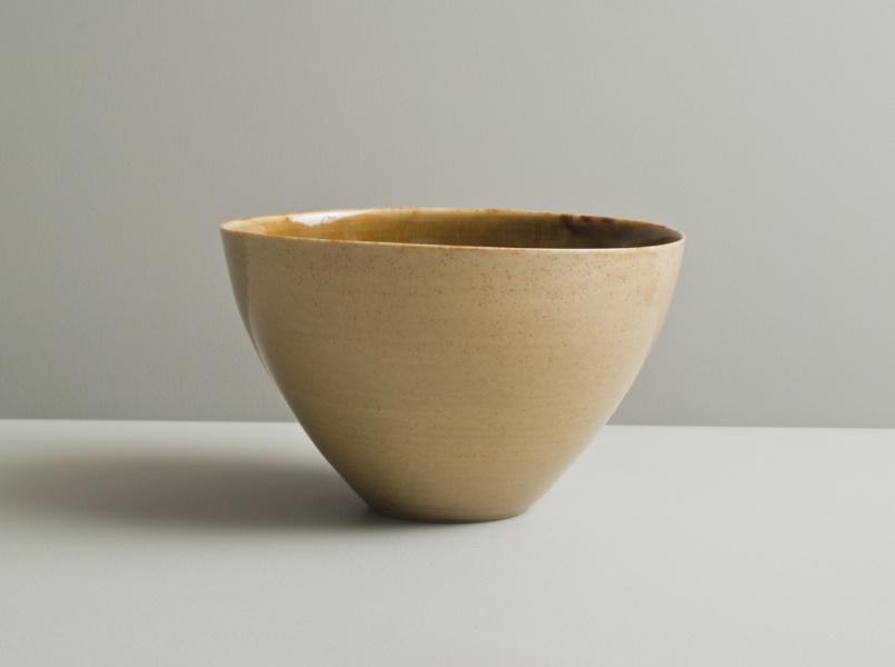 2011 Upright bowl in running-amber and stony golden glazes
