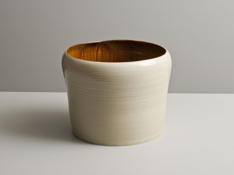 2012 Large upright form with inverted lip in running-amber and watery ivory glazes