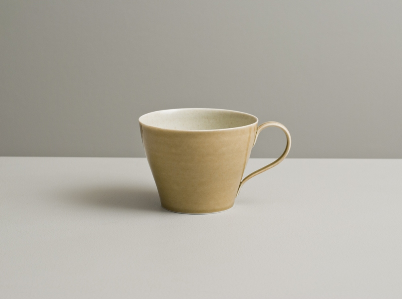 2012 Cup in speckled satin-ivory and watery golden glazes