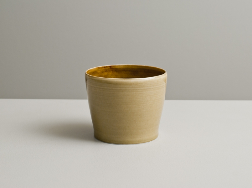 2012 Large cup in watery amber and golden glazes