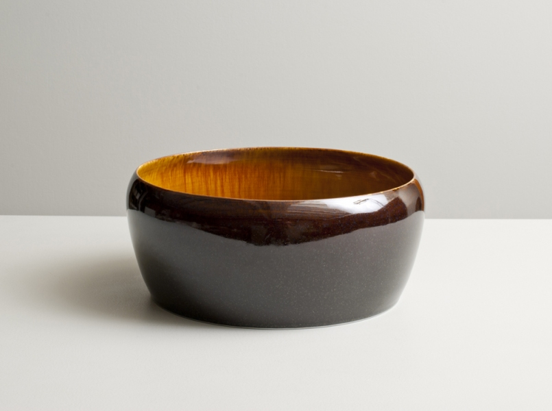 2012 Large form with inverted lip in running-amber and mirror-violet-black glazes