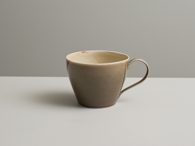2012 Cup in variegated ivory and rose-green glazes