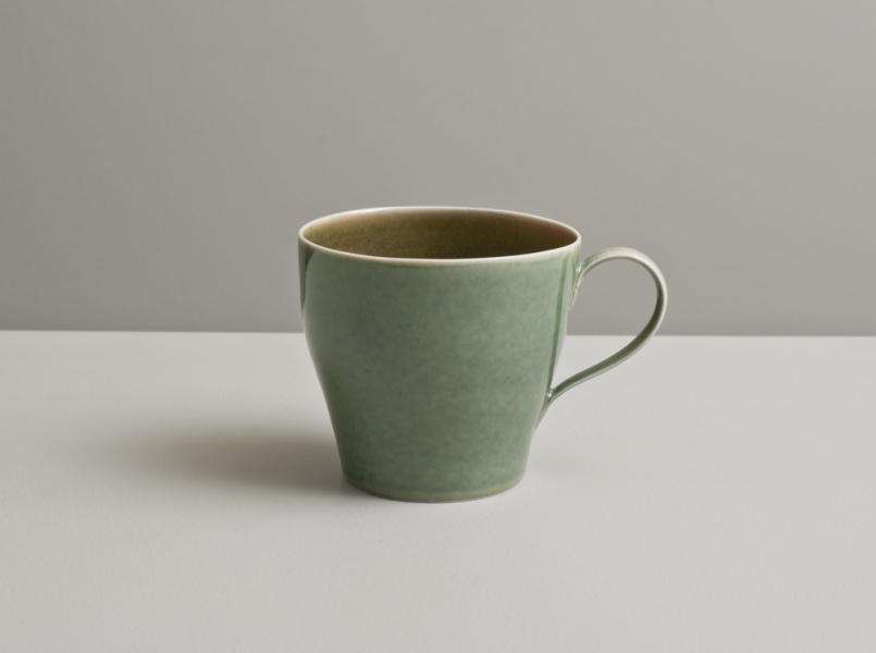 2012 Cup in rose-green and mottled-green glazes