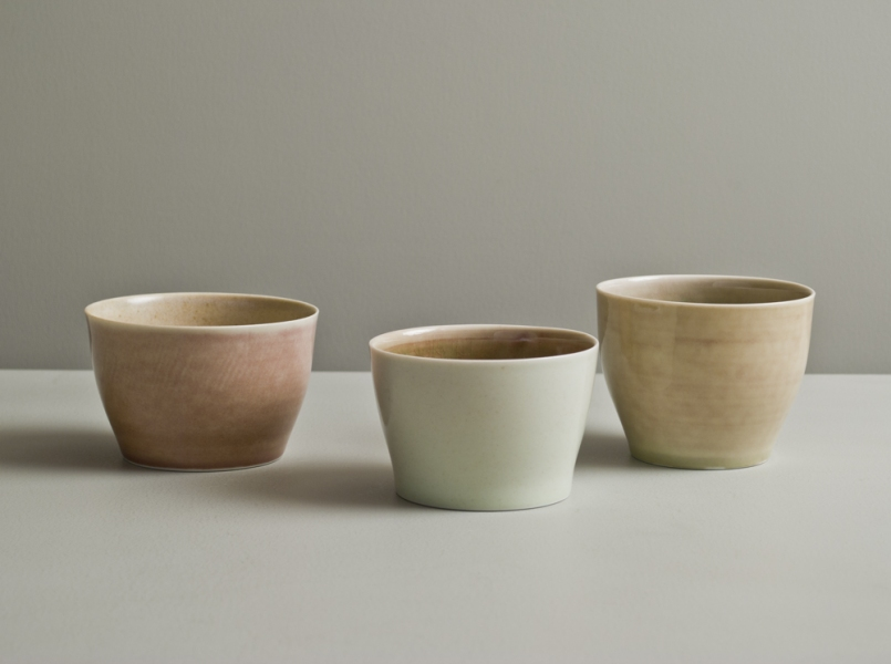 2011 Three small cups in rose and watery green glazes