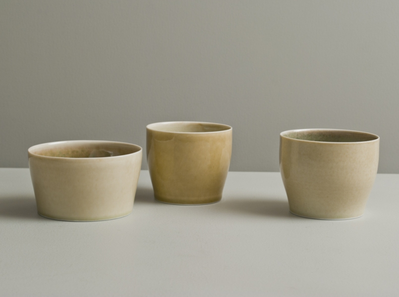 2011 Three cups in watery rose-green, golden, and ivory glazes