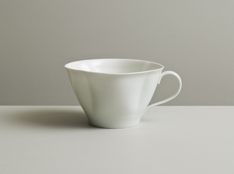 2011 Scalloped cup in satin-white and celadon glazes