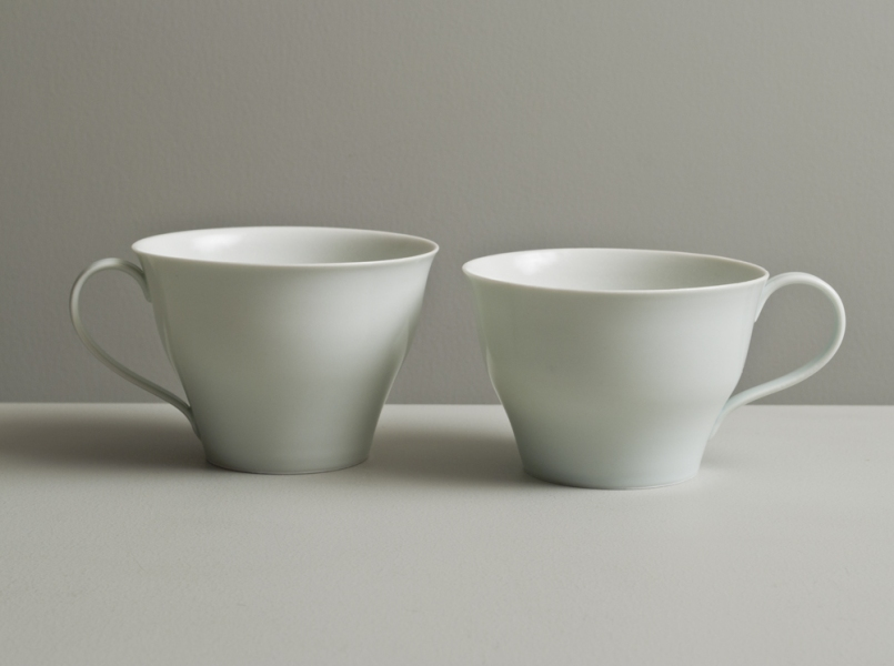 2011 Two cups in satin-white and celadon glazes