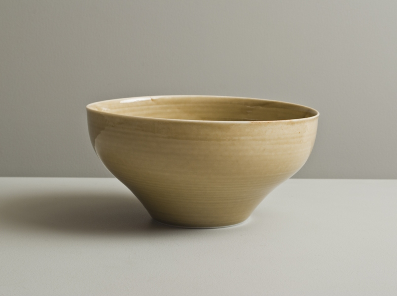 2011 Lilting bowl in watery golden glazes