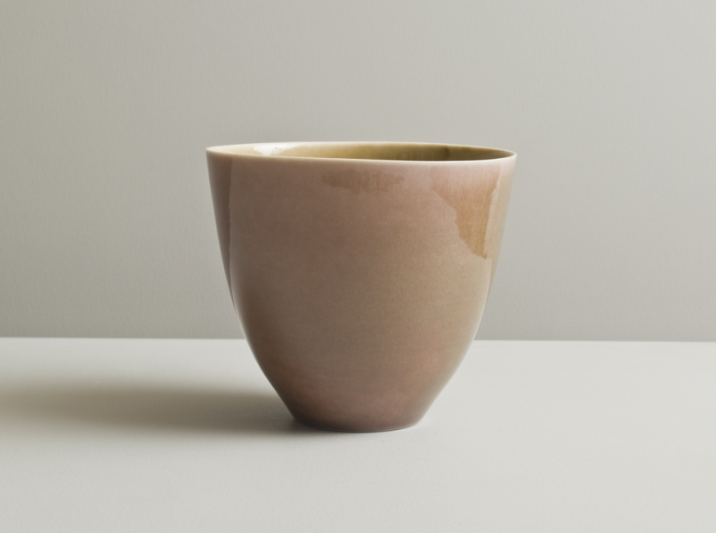 2011 Slender upright bowl in watery golden and rose-green glazes