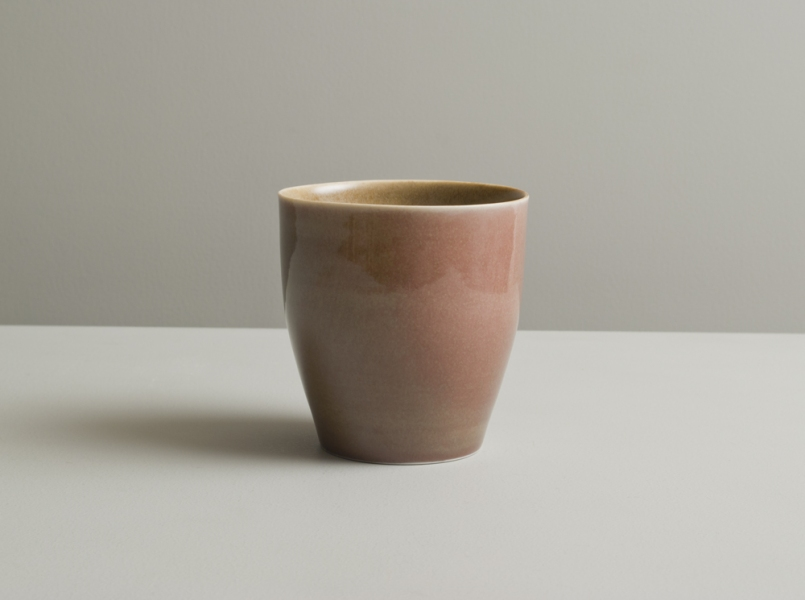 2011 Upright cup in stony golden and blushing rose glazes