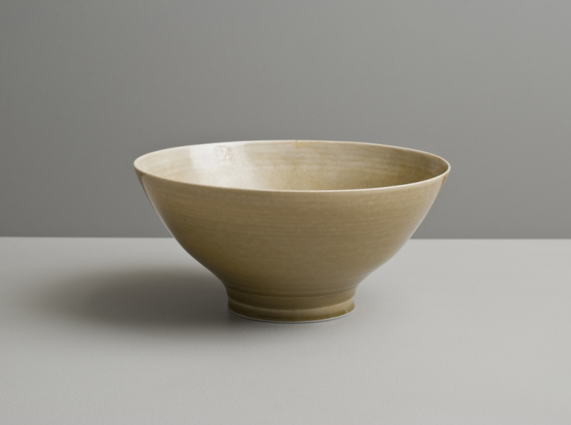 2012 Footed bowl in golden glazes