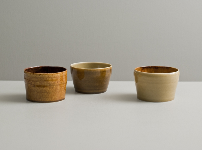 2012 Three cups in amber and golden glazes