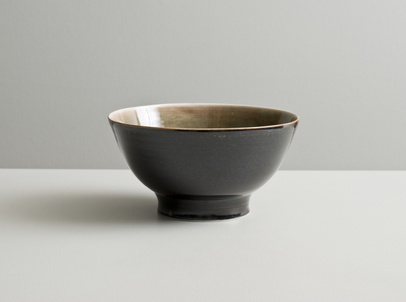 2012 Footed bowl in rose-green and mirror-black glazes