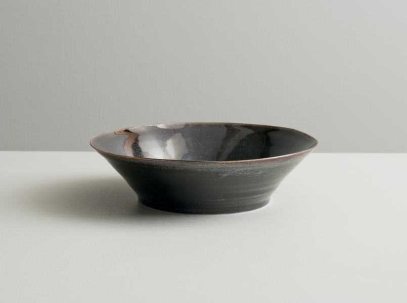 2012 Small dish with high walls in violet-black and variegated-black glazes