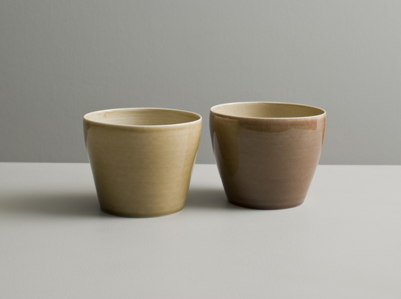 2012 Two large cups in watery rose-green, golden, and ivory glazes