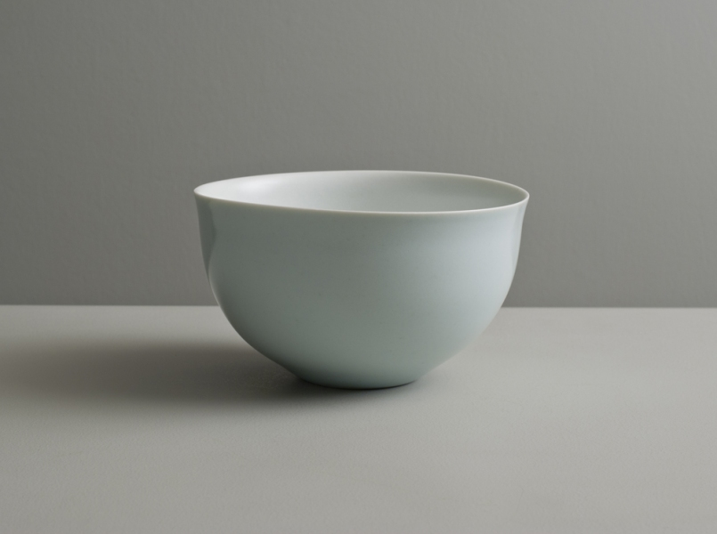 2011 Full-bellied bowl with everted lip in satin-white and celadon glazes
