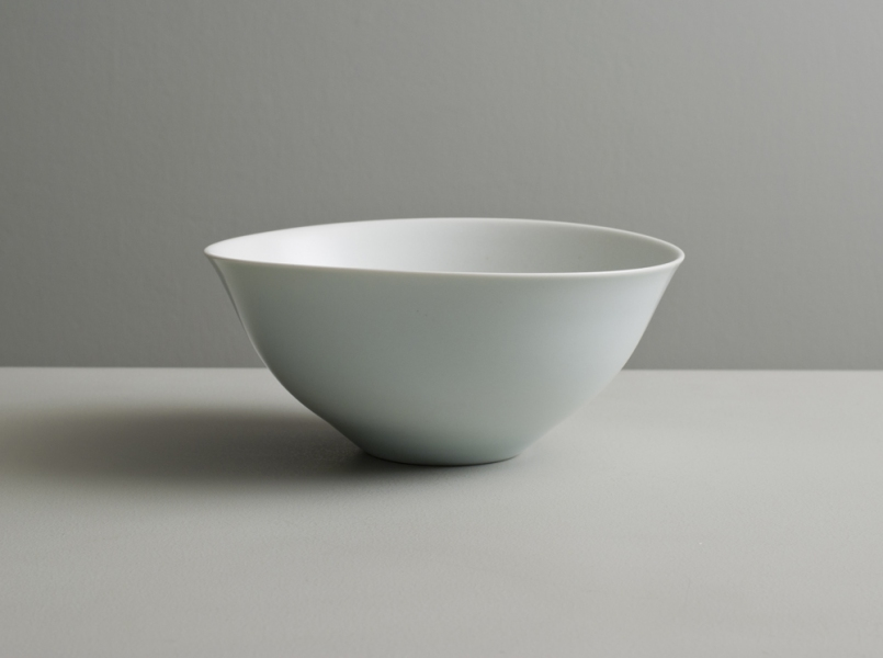 2011 Bowl with everted lip in satin-white and celadon glazes
