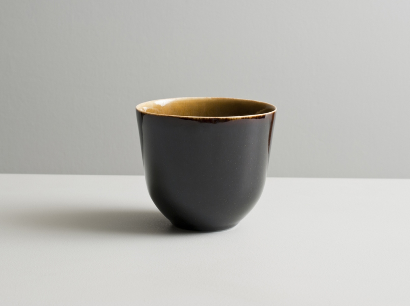 2010 Tall upright teabowl in amber and violet-black glazes