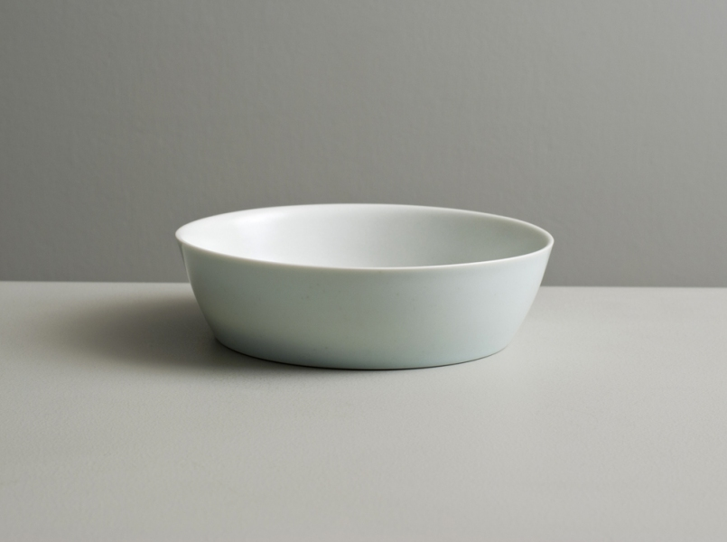 2011 Low dish in satin-white and celadon glazes