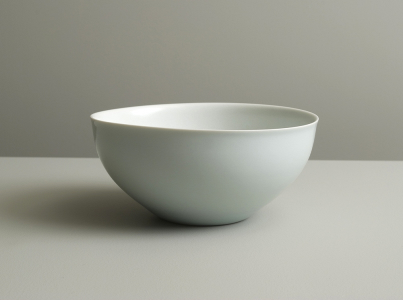 2011 Bowl with everted rim in satin-white and celadon celadon glazes