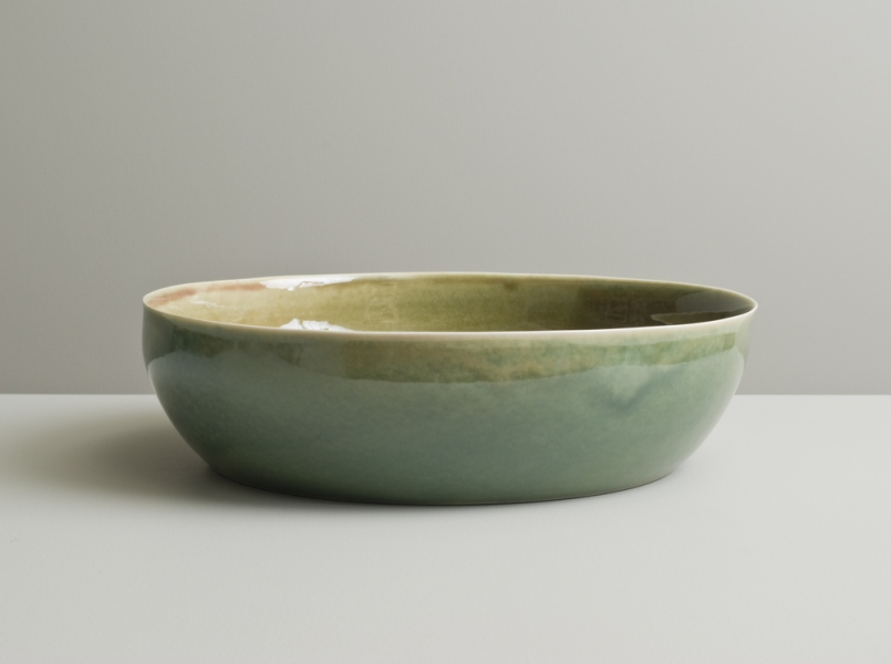 2011 Large dish in rose-green and mottled-green glazes