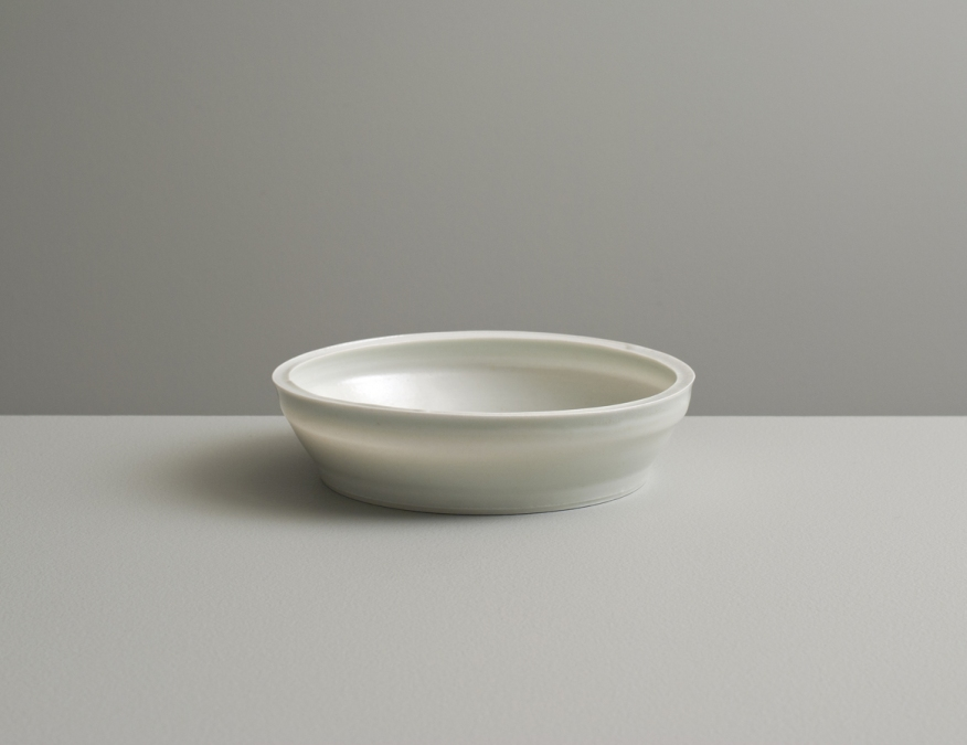 2012 Small plate in ivory-violet and ivory-green glazes (#121069)