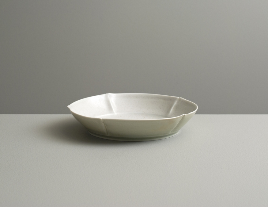 2012 Small plate in ivory-violet and ivory-green glazes (#121082)