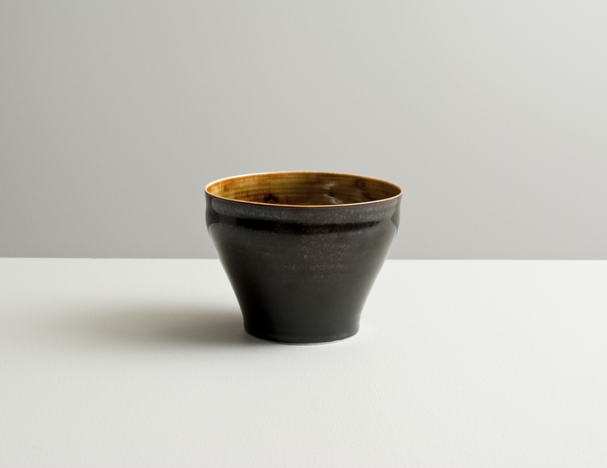 2012 Large cup in amber and violet-black glazes (#121008)