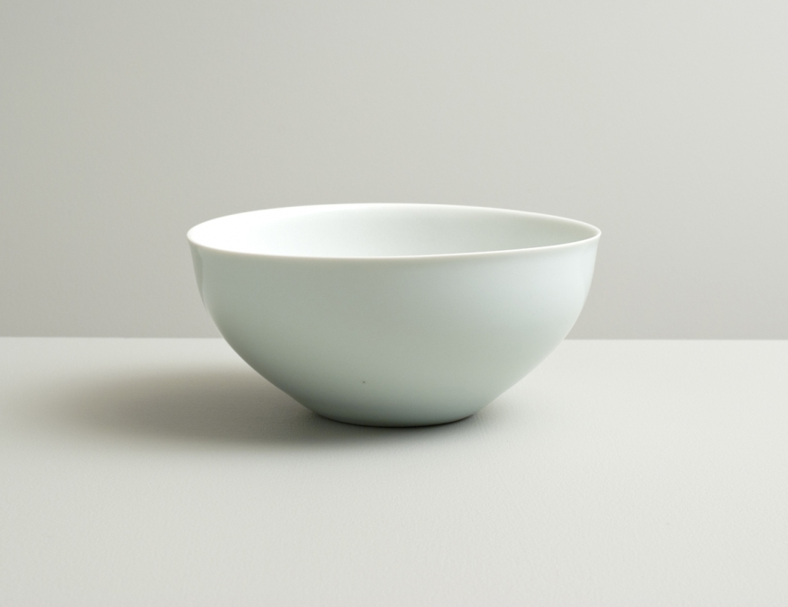 2012 Undulating bowl in satin-white and celadon glazes (#110004)