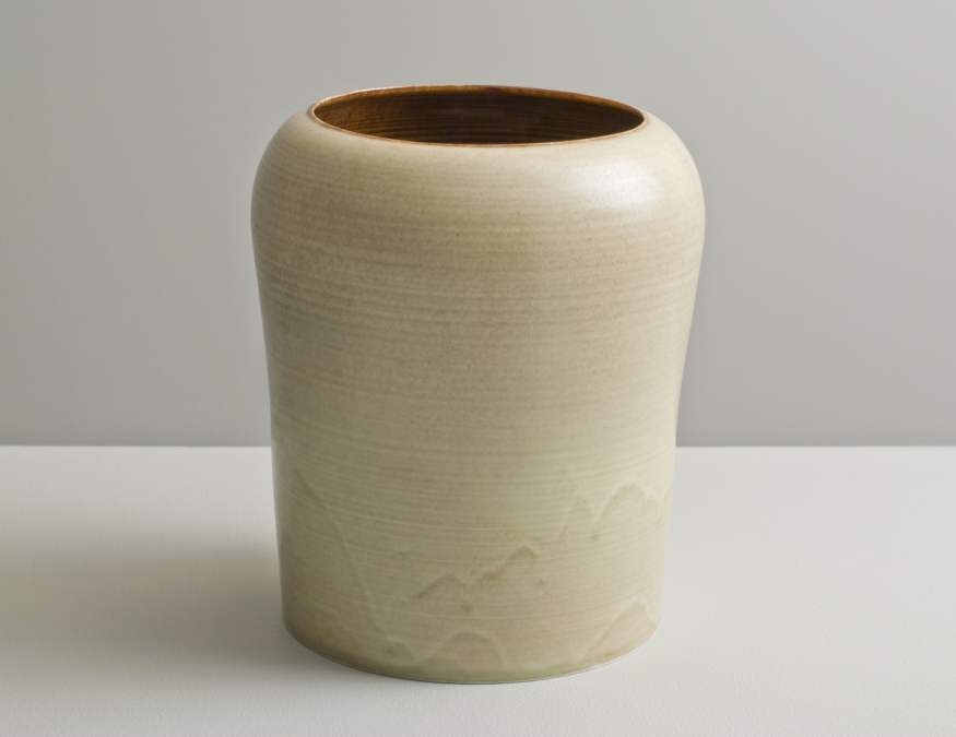 2012 Tall form in running amber and ivory-green glazes (#121044)