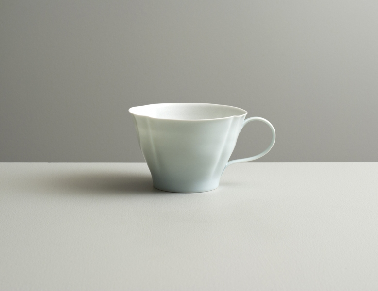2012 Scalloped cup in satin-white and celadon glazes (#121019)
