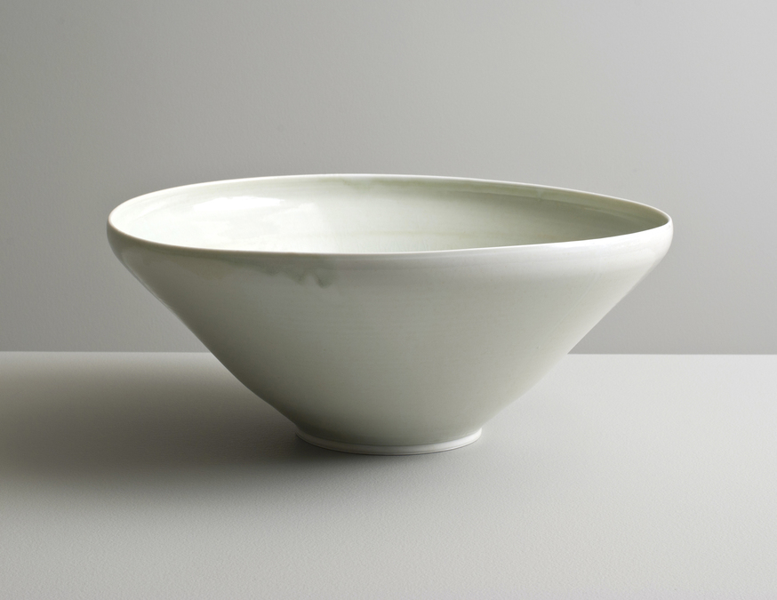 2013 Large undulating bowl in running pale-green celadon glaze